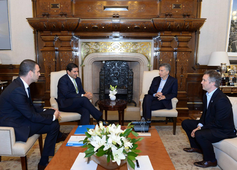 Mauricio Macri, Fernando de Andreis, Diego Bekerman y César Cernuda (Microsoft)